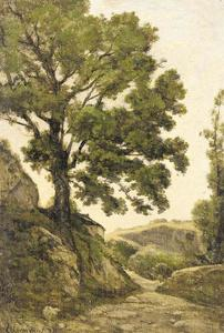 Henri-Joseph Harpignies - The great tree - Path in the countryside