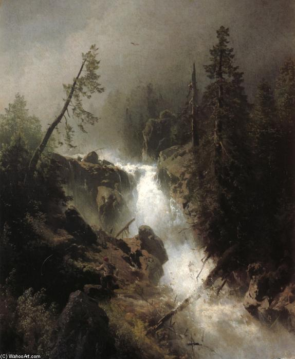 Cascade with a Fisherman, Oil On Canvas by Herman Herzog (1832-1932, Germany)