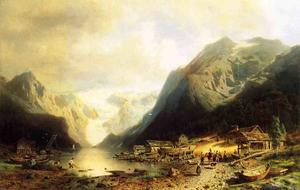 Herman Herzog - Fishermans Village on an Alpine Lake