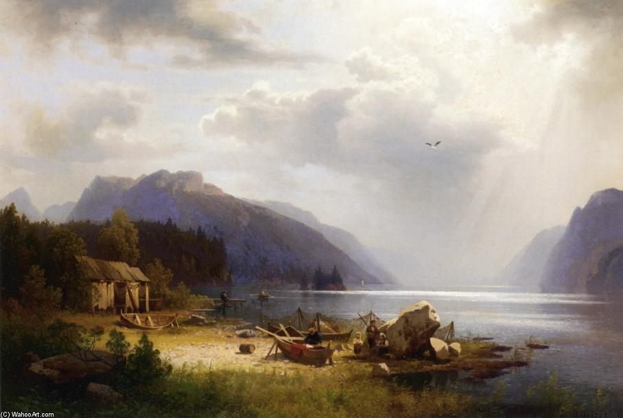 Fishing in an Alpine Lake, 1873 by Herman Herzog (1832-1932, Germany) | Paintings Reproductions Herman Herzog | WahooArt.com