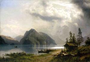 Herman Herzog - Landscape with Lake and Mountains