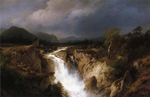 Herman Herzog - Landscape with Waterfall