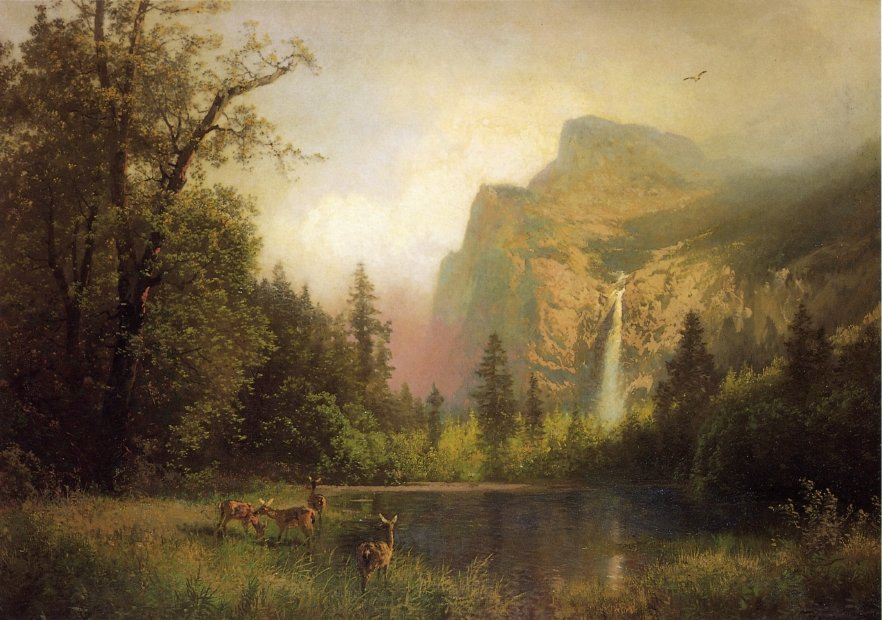 The Waterfall, Oil On Canvas by Herman Herzog (1832-1932, Germany)