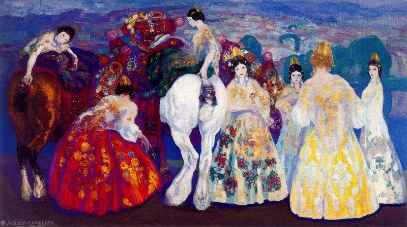 Valencian girls by Hermen Anglada Camarasa (1872-1959, Spain)