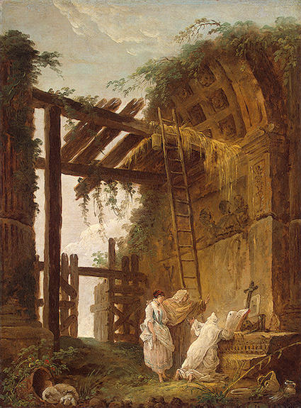 At the Hermit`s by Hubert Robert (1733-1808, France) | Museum Quality Reproductions | WahooArt.com