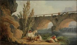 Hubert Robert - Bridge over a Cascade