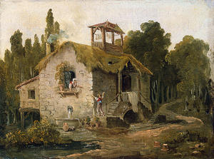 Hubert Robert - Cottage in the Forest