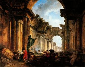 Hubert Robert - Imaginary View of the Grande Galerie in Ruins