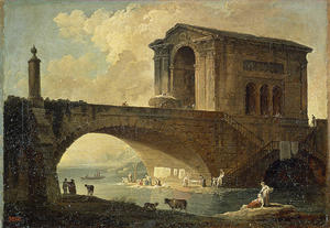 Hubert Robert - Landscape with a Stone Bridge