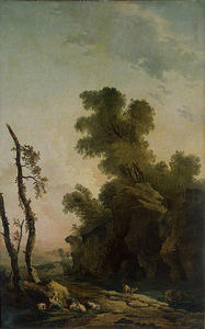 Hubert Robert - Landscape with Rocks