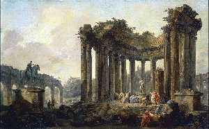 Hubert Robert - Landscape with the Ruins of the Round Temple, with a Statue of Venus and a Monument to Marcus Aurelius