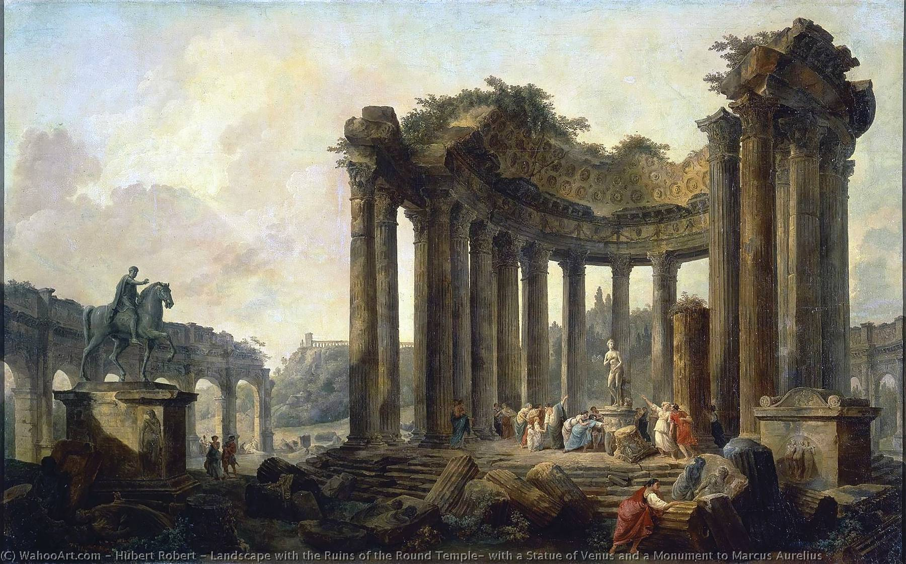 Landscape with the Ruins of the Round Temple, with a Statue of Venus and a Monument to Marcus Aurelius by Hubert Robert (1733-1808, France)