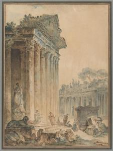 Hubert Robert - Ruins with a Statue of an Emperor