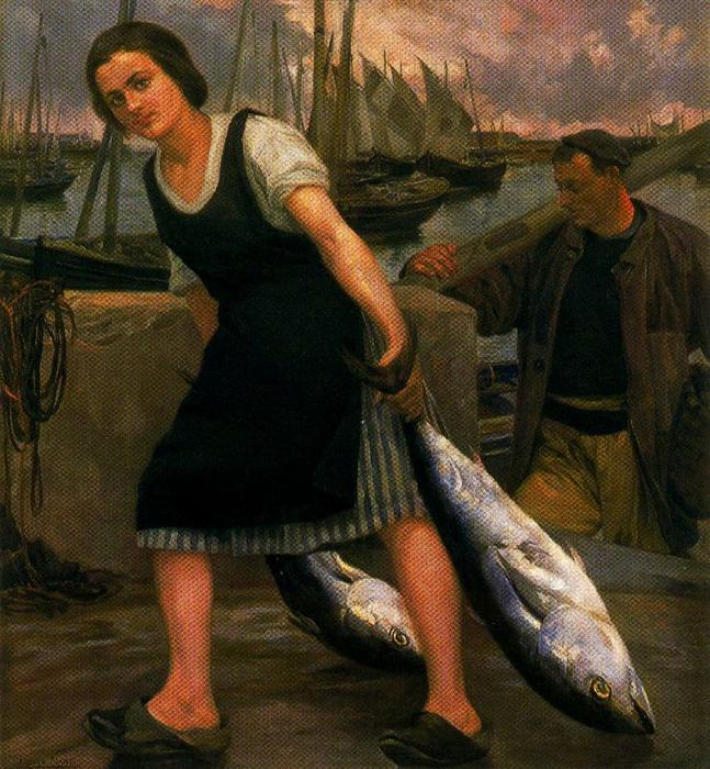 Order Reproductions | The fisherman`s daughter by Ignacio Díaz Olano (1860-1937, Spain) | WahooArt.com