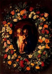 Jacob Jordaens - Madonna and Child surrounded by a wreath
