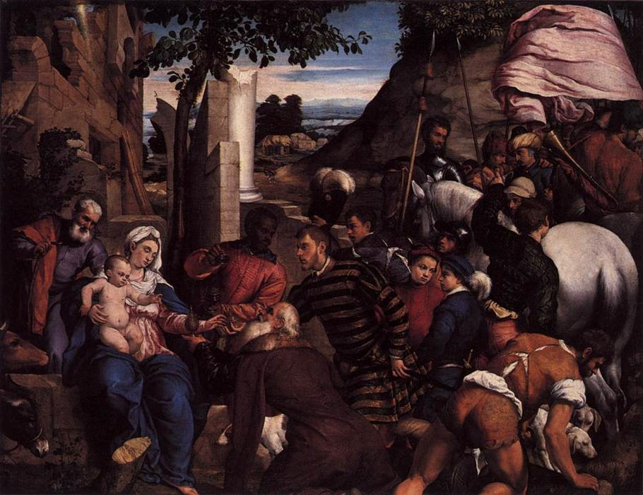 Adoration of the Kings by Jacopo Bassano (Jacopo Da Ponte) (1510-1592, Italy) | Famous Paintings Reproductions | WahooArt.com