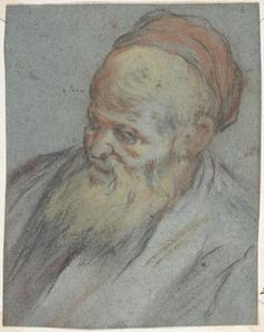 Jacopo Bassano (Jacopo Da Ponte) - Bust-Length Study of a Bearded Man with Cap in Three-Quarter View