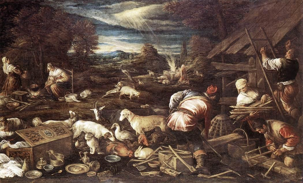 Noah`s Sacrifice by Jacopo Bassano (Jacopo Da Ponte) (1510-1592, Italy) | Famous Paintings Reproductions | WahooArt.com