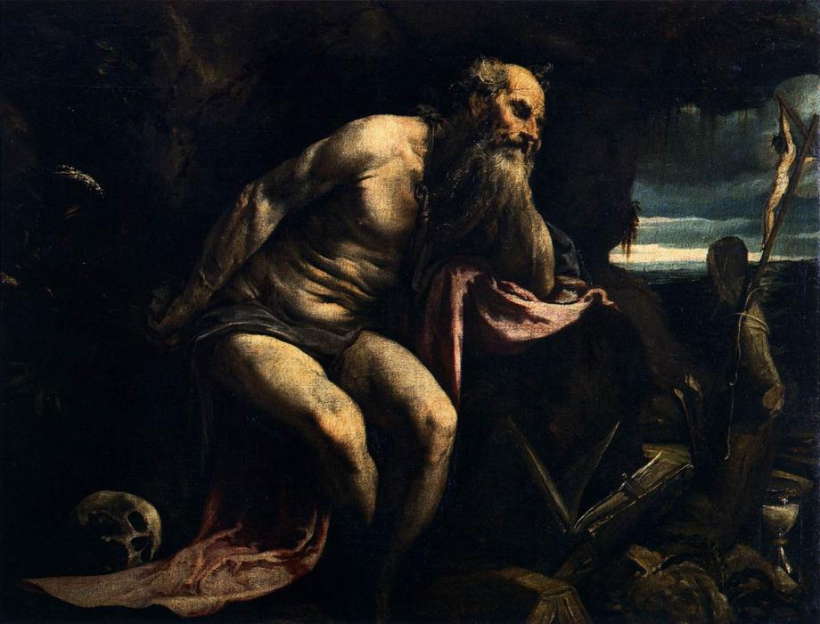 St Jerome by Jacopo Bassano (Jacopo Da Ponte) (1510-1592, Italy) | Art Reproduction | WahooArt.com