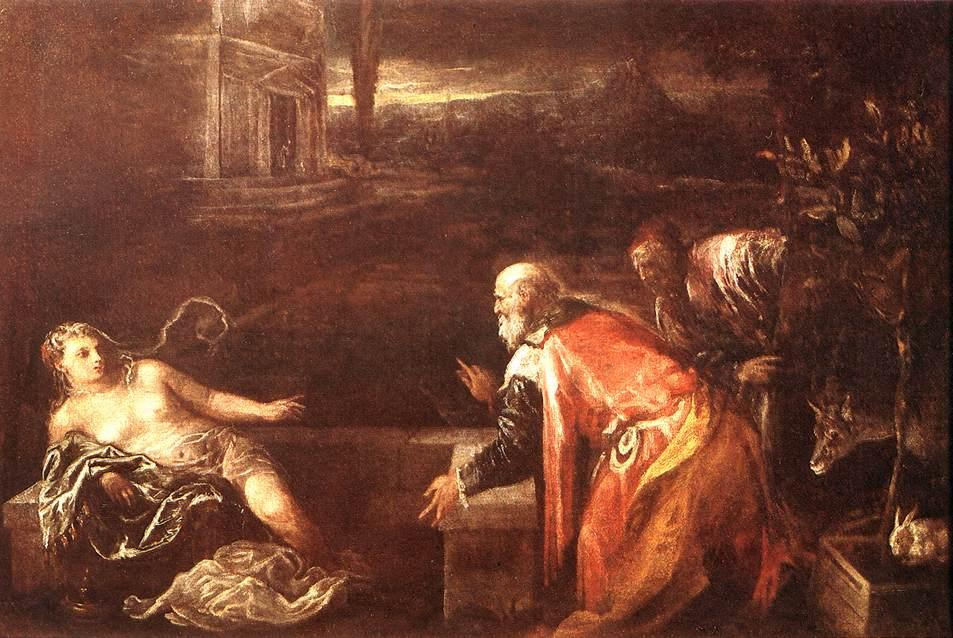 Susanna and the Elders by Jacopo Bassano (Jacopo Da Ponte) (1510-1592, Italy) | Oil Painting | WahooArt.com