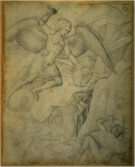 St Michael Defeating Satan by Jacopo Bellini (1396-1470, Italy) | Oil Painting | WahooArt.com
