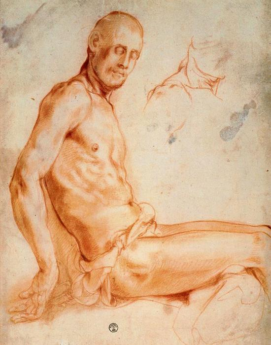 Christ seated, as a nude figure by Jacopo Carucci (Pontormo) (1494-1557, Italy)