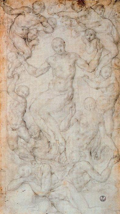 Compositional study for Christ the Judge with the Creation of Eve by Jacopo Carucci (Pontormo) (1494-1557, Italy) | Painting Copy | WahooArt.com