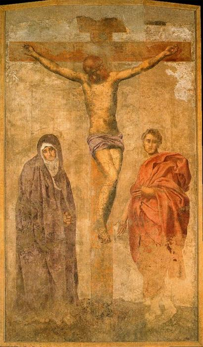 Crucifixion with the virgin and St. John by Jacopo Carucci (Pontormo) (1494-1557, Italy)