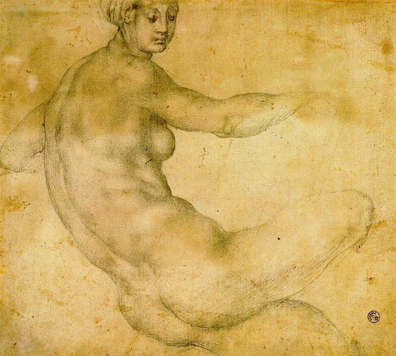 Female nude 2 by Jacopo Carucci (Pontormo) (1494-1557, Italy) | Painting Copy | WahooArt.com