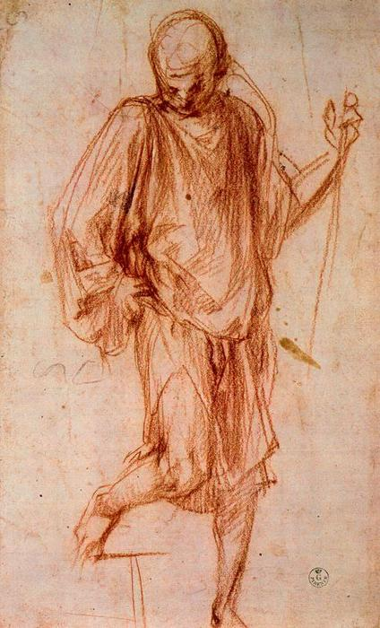 Figure study by Jacopo Carucci (Pontormo) (1494-1557, Italy) | WahooArt.com