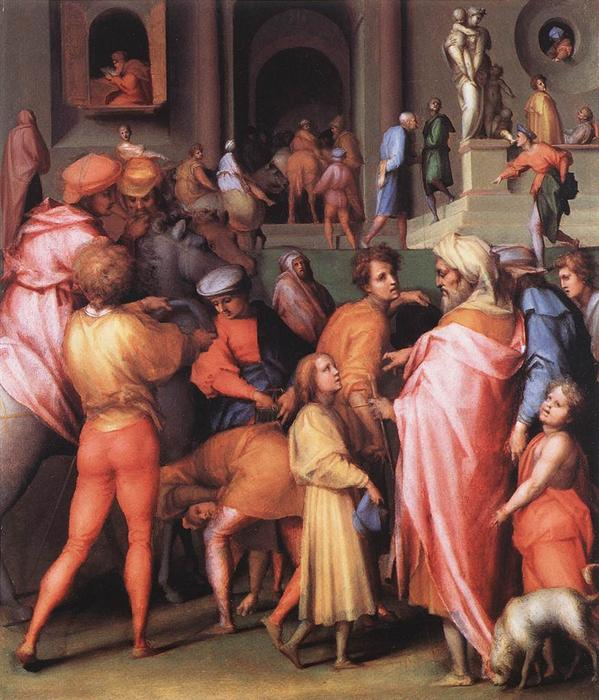 Joseph Being Sold to Potiphar by Jacopo Carucci (Pontormo) (1494-1557, Italy) | Famous Paintings Reproductions | WahooArt.com