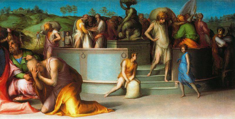 Joseph Revealing Himself to his Brothers by Jacopo Carucci (Pontormo) (1494-1557, Italy)