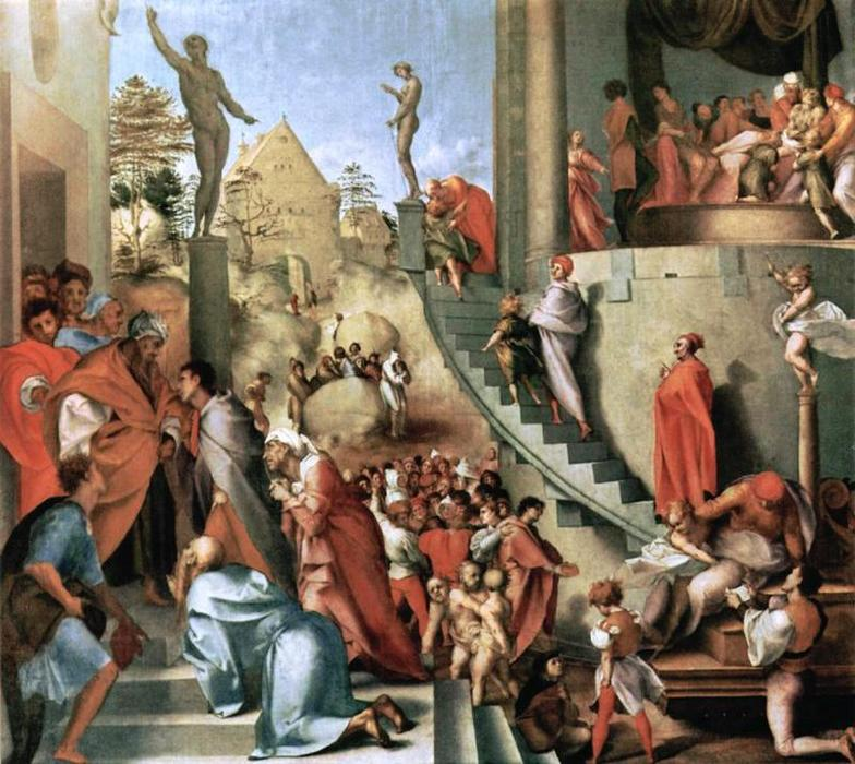 Joseph with Jacob in Egypt by Jacopo Carucci (Pontormo) (1494-1557, Italy) | WahooArt.com