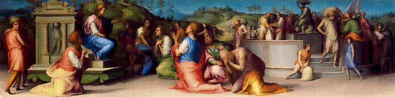 Joseph's Broders beg for Help by Jacopo Carucci (Pontormo) (1494-1557, Italy)