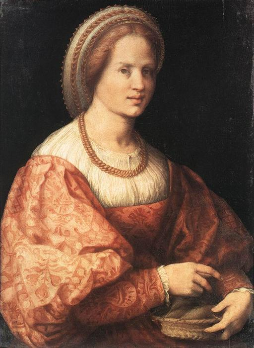 Lady with a Basket of Spindles by Jacopo Carucci (Pontormo) (1494-1557, Italy) | Painting Copy | WahooArt.com