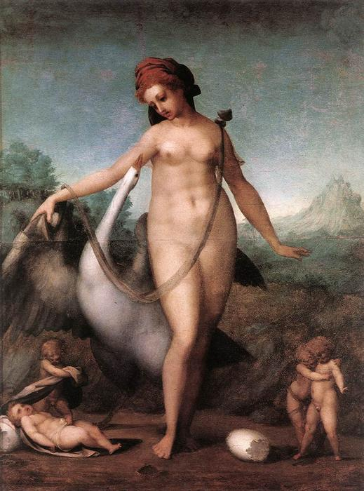 Leda and the Swan by Jacopo Carucci (Pontormo) (1494-1557, Italy)