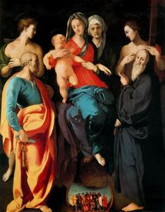 Jacopo Carucci (Pontormo) - Madonna and Child with St. Anne and the Saints, Sebastian, Peter, Benedict