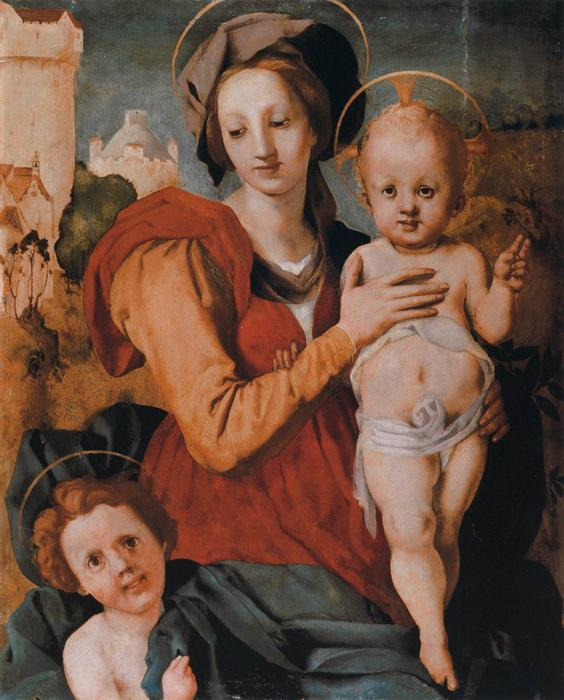 Madonna and Child with the Young St John the Baptist by Jacopo Carucci (Pontormo) (1494-1557, Italy) | Art Reproduction | WahooArt.com