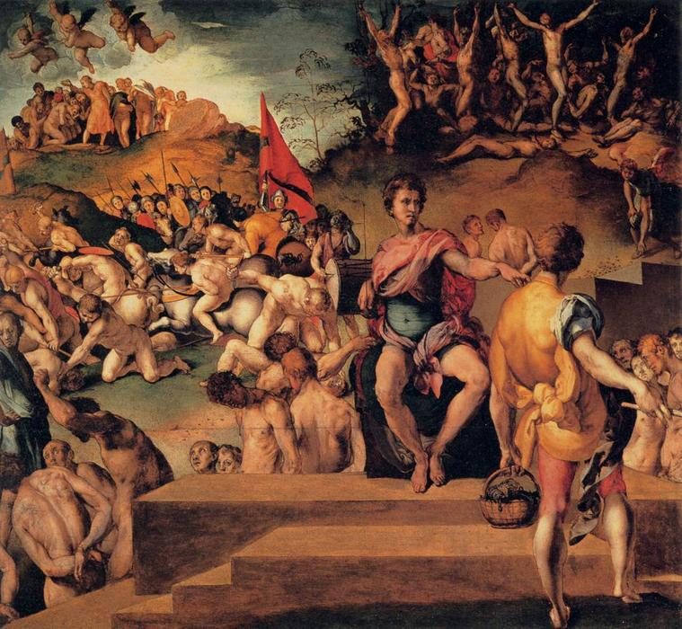 Order Art Reproduction : Martyrdom of St Maurice and the Theban Legion by Jacopo Carucci (Pontormo) (1494-1557, Italy) | WahooArt.com