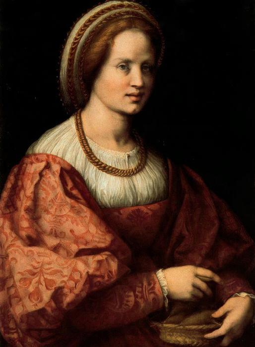 Portrait of a Lady with a Spindle Basket by Jacopo Carucci (Pontormo) (1494-1557, Italy) | Oil Painting | WahooArt.com