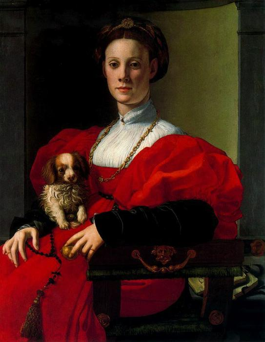 Portrait of a Lady with Dog by Jacopo Carucci (Pontormo) (1494-1557, Italy)