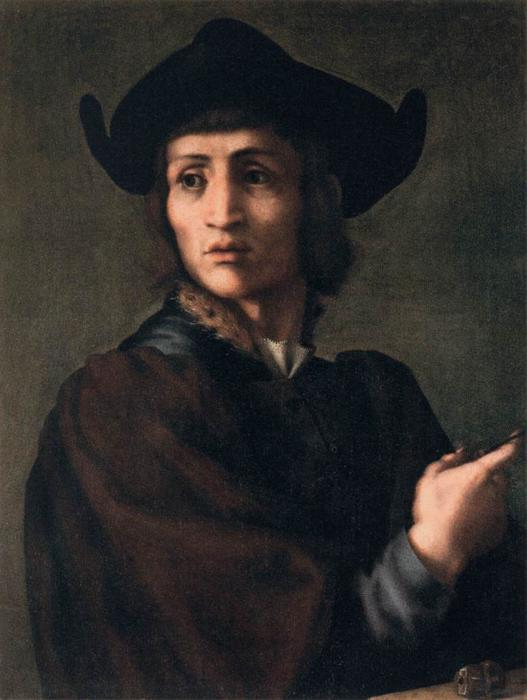 Portrait of an Engraver of Semi-Precious Stones by Jacopo Carucci (Pontormo) (1494-1557, Italy) | Painting Copy | WahooArt.com
