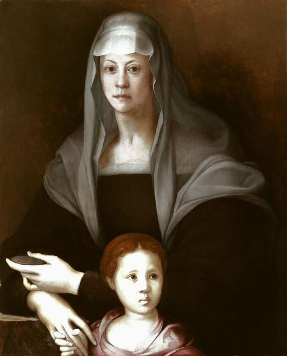 Portrait of Maria Salviati with little Cosimo de Medici by Jacopo Carucci (Pontormo) (1494-1557, Italy)