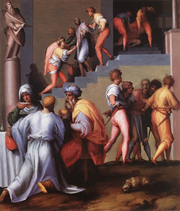 Punishment of the Baker by Jacopo Carucci (Pontormo) (1494-1557, Italy) | Famous Paintings Reproductions | WahooArt.com