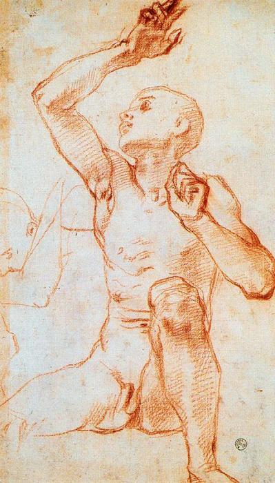 Seated Male Nule by Jacopo Carucci (Pontormo) (1494-1557, Italy)