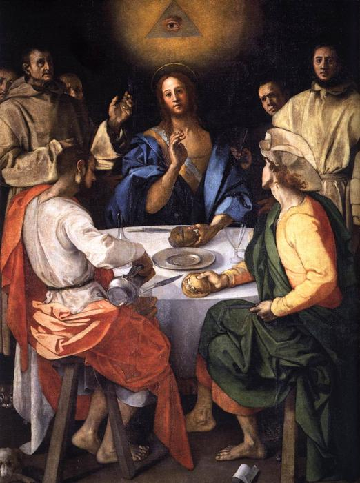 Supper at Emmaus by Jacopo Carucci (Pontormo) (1494-1557, Italy) | Painting Copy | WahooArt.com