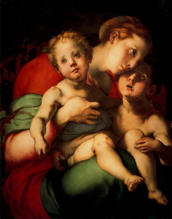 Order Famous Paintings Reproductions : The Virgin and Child with St. John Child by Jacopo Carucci (Pontormo) (1494-1557, Italy) | WahooArt.com