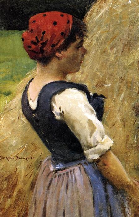 Normandy Girl, 1883 by James Carroll Beckwith (1852-1917, United States) | Museum Art Reproductions James Carroll Beckwith | WahooArt.com