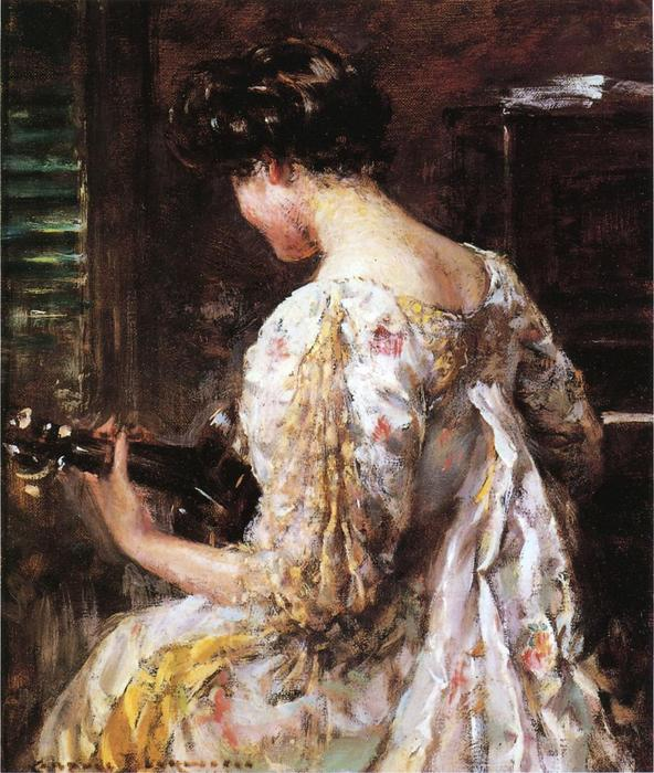 Woman with Guitar by James Carroll Beckwith (1852-1917, United States) | Reproductions James Carroll Beckwith | WahooArt.com