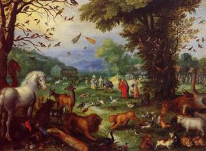 Jan Brueghel The Elder - Landscape of Paradise and the Loading of the Animals in Noah's Ark